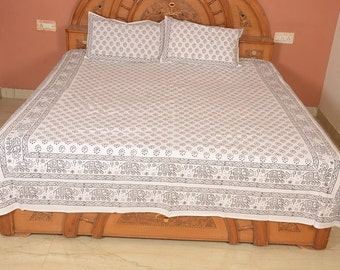 Traditional Metal Block elephant print double bedsheet Bed cover bedspread with 2 Pillow covers