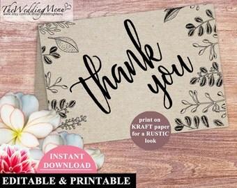 Wedding THANK YOU Card Rustic Botanical thank you Wedding template editable kraft thank you Instant Download thank you kraft PDF 006