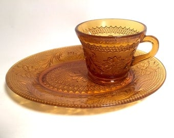Amber Snack Set Made For Tiara by Indiana Glass