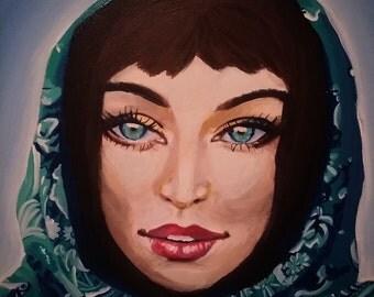 Girl wearing blue scarf