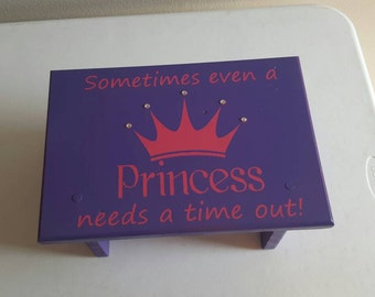 Kids princess stool, pink and purple