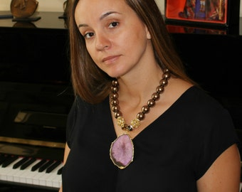 Rose Agate Pendant Statement Necklace