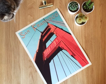 Golden Gate Bridge, San Francisco. Giclee travel art print