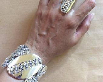 Wide zipper lace style sterling silver cuff