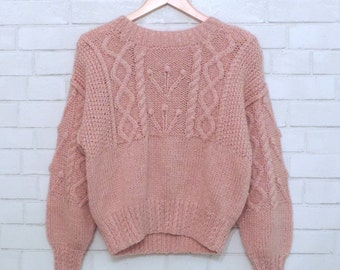 Cute Light Pink Woven Sweater