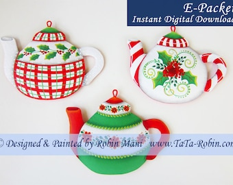310E E-PACKET Christmas Teapots Decorative Painting Pattern Digital - Instant Download