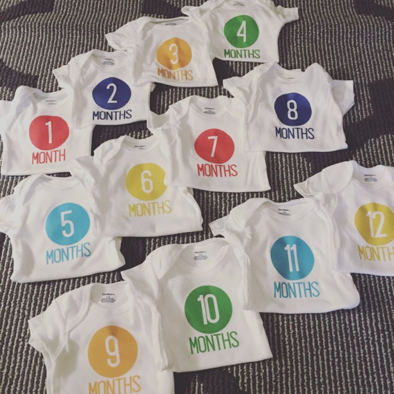 Baby Boy Monthly Growing Onsie Set