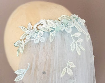 Summer cathedral, chapel or fingertip length applique transparent fine tulle veil