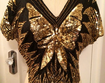 BUTTERFLY GLAM FAIRY Blouse Black and Gold Sequin