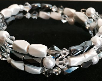 Magnetic Wrap Bracelet with Swarovski Crystals and Pearls