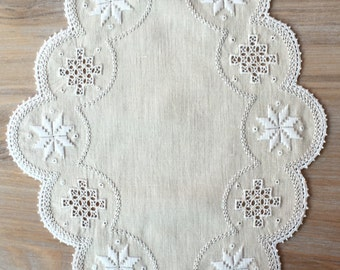 Oval Lefkara lace table cloth