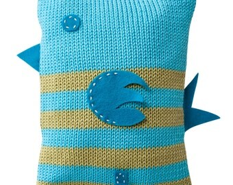 Hand Made Knitted Baby Birdy Toy - Turquoise