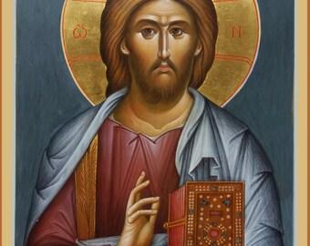 Byzantine icon Orthodox icon Jesus Christ  egg tempera Икона Христос Вседержитель яичная темпера Византийская