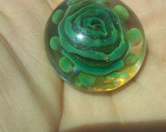 Green Flower Glass Pendant