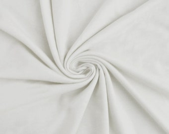 White 100% Cotton French Terry Fabric by the yard RG1