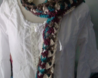 Antique Variegated Crocheted Scarf