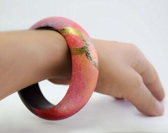 Galaxy Wood Bracelet with Gold Infinity  Symbol