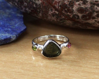 Natural Green Tourmaline Slice Gemstone Ring, Multi Tourmaline Ring Size 8 , Sterling Silver Tourmaline Ring, Band Ring