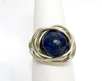 Lapis Lazuli ring, silver plated lapis lazuli ring, lapis ring, wire wrapped lapis lazuli, wire wrapped ring, nested ring, blue and silver