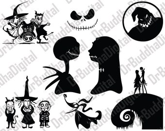 Sale! Nightmare Before Christmas SVG Collection - Nightmare DXF - Jack Skellington Clipart -Svg Files for Silhouette Cameo or Cricut