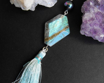 Labradorite Tassel Gemstone Charm, Clip-on, Purse, Handbag