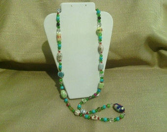 389 Gorgeous Multi-colored Porcelain Beaded Necklace