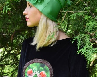 Slouchy hat with big flower by handmade