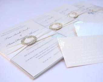 Ivory wedding Invitation Set - silk folio+RSVP+Mailer box