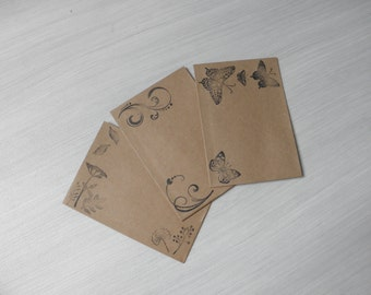 Snailmail envelopes. Vintage style. 3 pieces. C6