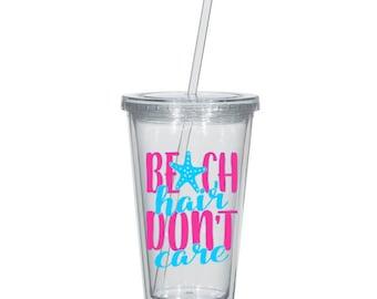 Beach Hair Don't Care Tumbler - Pink