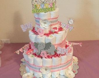 Girls elephant themed Diaper cake