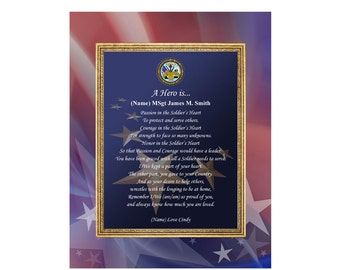 11x14 Unframed Mat Army Gift Personalized Poetry Military Print US Army Military Hero Poem Soldier Retirement Promotion Present