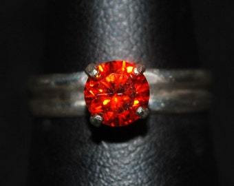 6mm Orange Solitare  Sterling Silver Size 6.25
