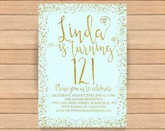 12th birthday invitation, Gold glitter confetti, Birthday invitation, Blue background, ANY AGE, COLOR - 1560