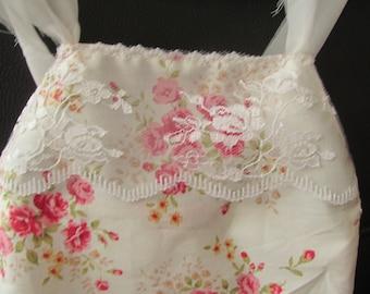 Newborn romper,photography prop,lace overlayer bib,ivory,pink floral,cotton halterneck,