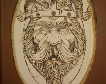 Viking warrior woodburning