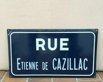 Old French Street Enameled Sign Plaque - vintage EMILE DE CAZILLAC