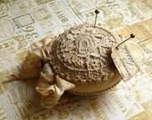 Pin Cushion Shabby Chic Vintage Style  Handmade  Round