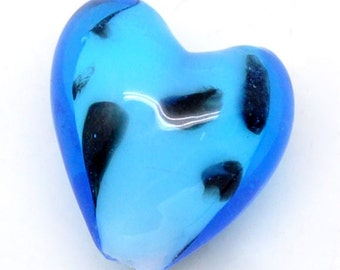 "5 Lampwork beads ""Heart"" - 15 * 14 mm - black / C1-0304"