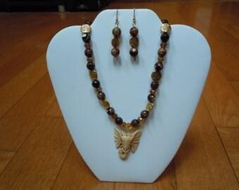 Dark Brown Agate with Bone Elephant Pendant