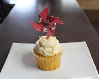 Valentine Pinwheel Cupcake Toppers