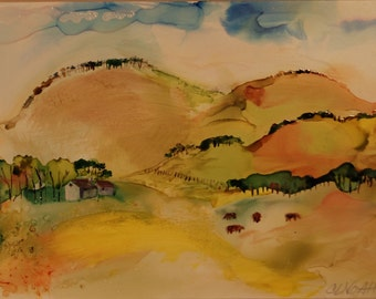 Alcohol inks and acrylics landscape in brilliant colors called Soft Landscape