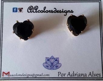 Cristal heart stud earrings