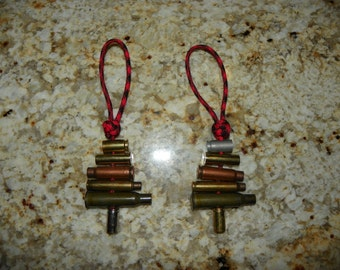"Recycled Bullet Shell Casing & Paracord Christmas Tree Ornament For Gun Enthusiasts, Hunters, Sportsman - Set of 2 - By ""Backwood Paracord"""