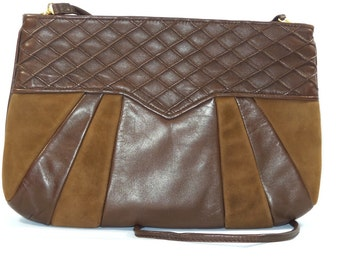Leather and suede bag-Brown-pe928/056