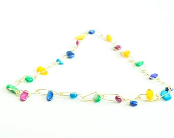 multicolour wire and bead necklace