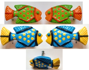 Cabinet Drawer Knobs Pulls colorful FISH Knobs Beach Decor FREE SHIPPING