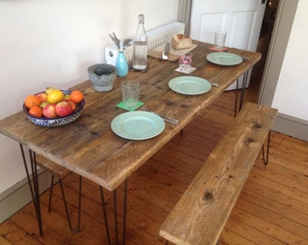 Industrial Handcrafted Reclaimed Wood Kitchen/Dining Table Vintage Hairpin Legs (full plank used)