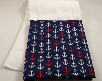 Anchors Away! Hot Pink and Blue 100% Cotton Burp Cloths