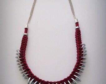 Burgundy suede necklace